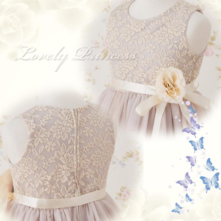 刺繍入り子供ドレス カーラ グレー