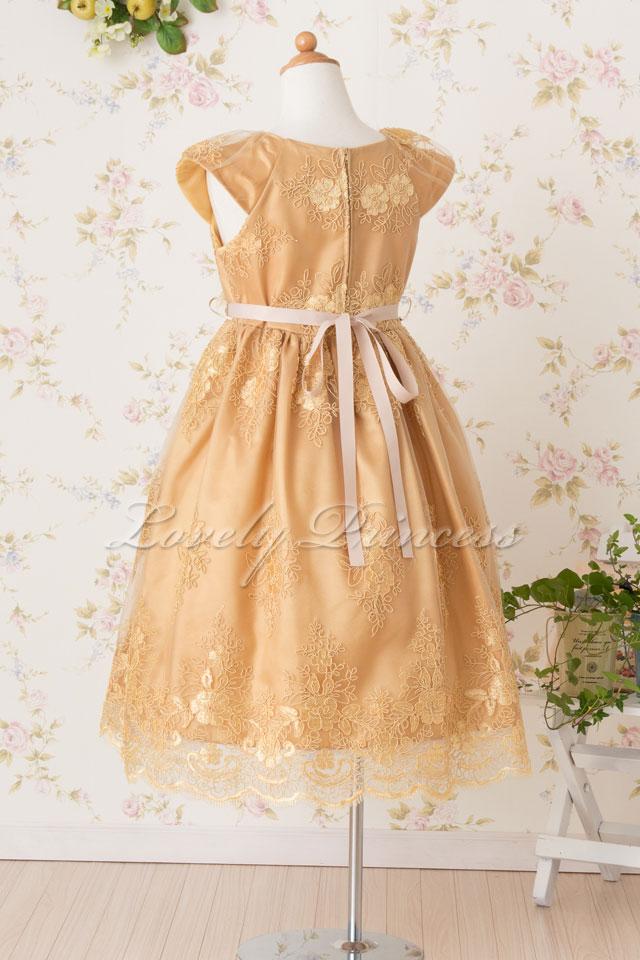 結婚式子供用ドレス エミリー ゴールド