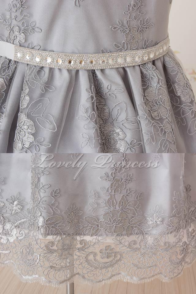 ピアノ子供用ドレス エミリー シルバー