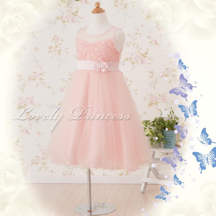 花柄刺繍入りドレス クレール ピンク