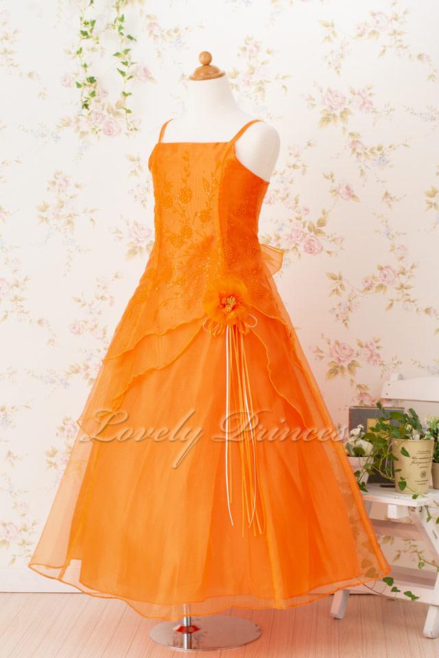 子供のドレス リンダ オレンジ