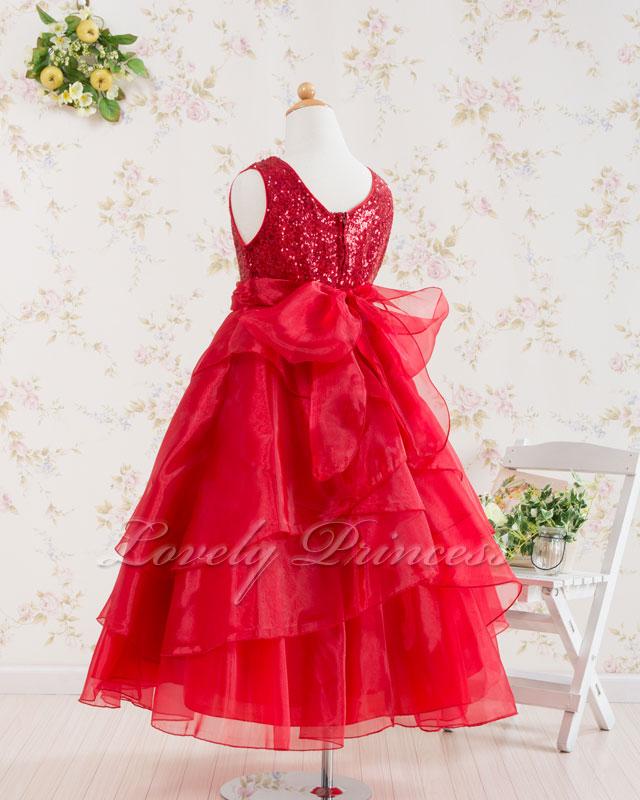 こどもドレス・ジュニアドレス アシュレイ レッド