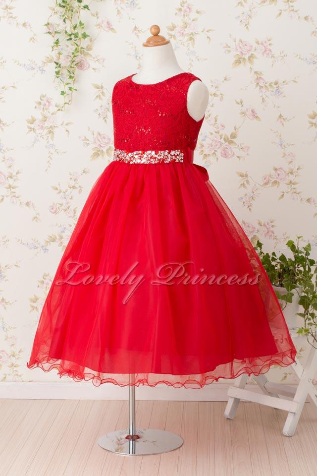 コンクール子供ドレス サフラン レッド