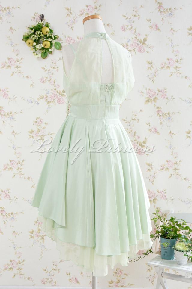 【パーティードレス・演奏会ドレス】ホルターネックパーティードレス ミント(82105