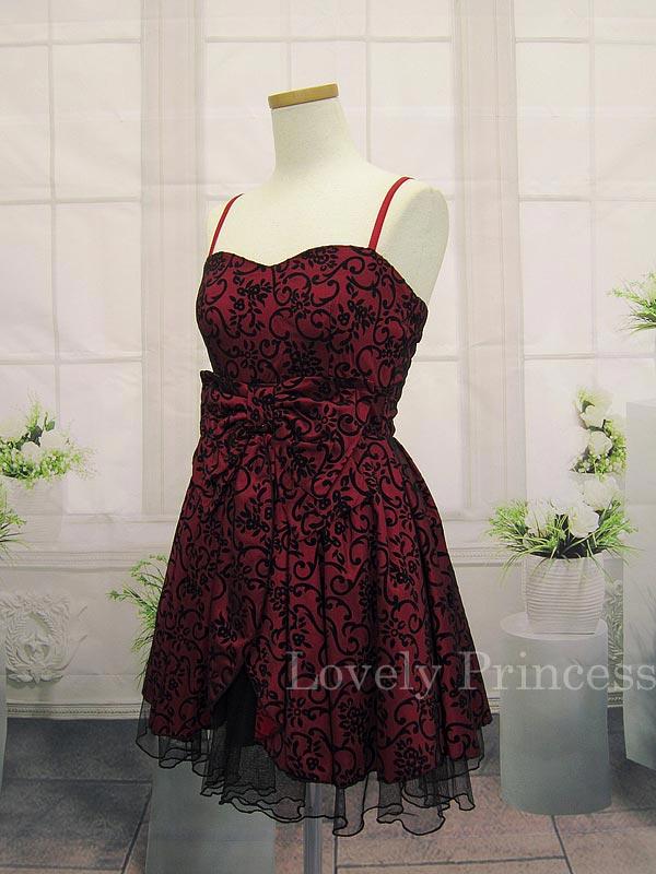ブラックチュールレイヤー加工ドレス ワイン(SK82131-WI)